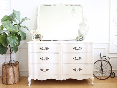 Vintage Shabby Chic Vintage Dresser / Credenza 6 drawers with Mirror No 537 - ShopGoldenPineapple