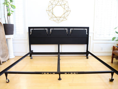 Mid Century Modern Black King Size Bed Headboard & Frame No 567 - ShopGoldenPineapple