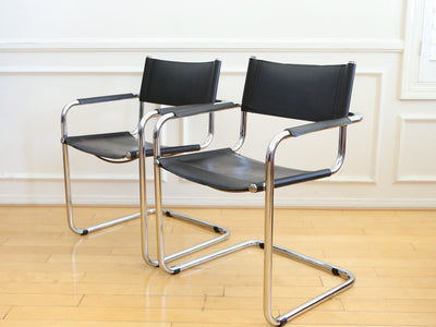 Mart Stam S34 Chrome & Black Leather Chairs - a Pair No 576 - ShopGoldenPineapple