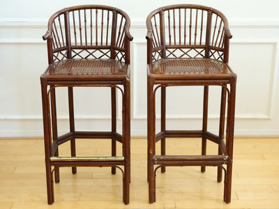 Tortoise Shell Bamboo Bar Stool Chairs - A Pair No 577