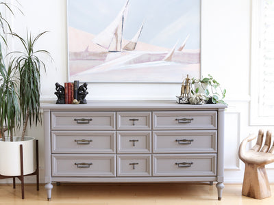Mid Century Modern Gray Dresser by White Fine Furniture No 578 - ShopGoldenPineapple