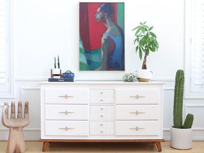 Mid Century Modern High Gloss White Vintage Dresser with wooden feet / Buffet Cabinet / Credenza No 580 - ShopGoldenPineapple