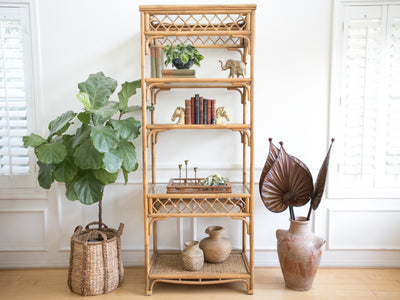 Reserved For Pamm - Boho Chic Vintage Bamboo & Rattan Etagere Bookshelf No 596 - ShopGoldenPineapple