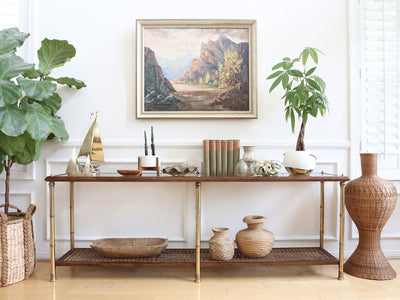 Vintage Gold Faux Bamboo Wicker Cane Console Table with Glass Top No 597 - ShopGoldenPineapple