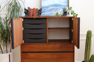 Vintage Mid-Century Walnut Dillingham Tall Hignboy Dresser Chest Armoire No 623 - ShopGoldenPineapple