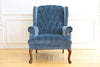 Vintage Blue Navy Tufted Velvet Wingback Chair No 630 - ShopGoldenPineapple