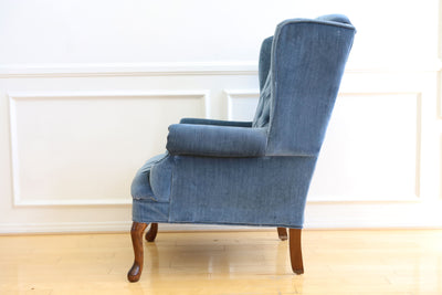 Vintage Blue Navy Tufted Velvet Wingback Chair No 630