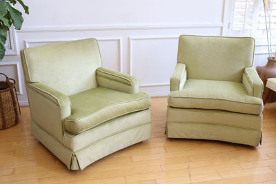 Mid-Century Modern Green Velvet Club Chairs - A Pair No 620 - ShopGoldenPineapple