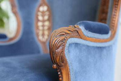 Antique French Louis XV Style Blue Velvet Curved Chair No 619 - ShopGoldenPineapple