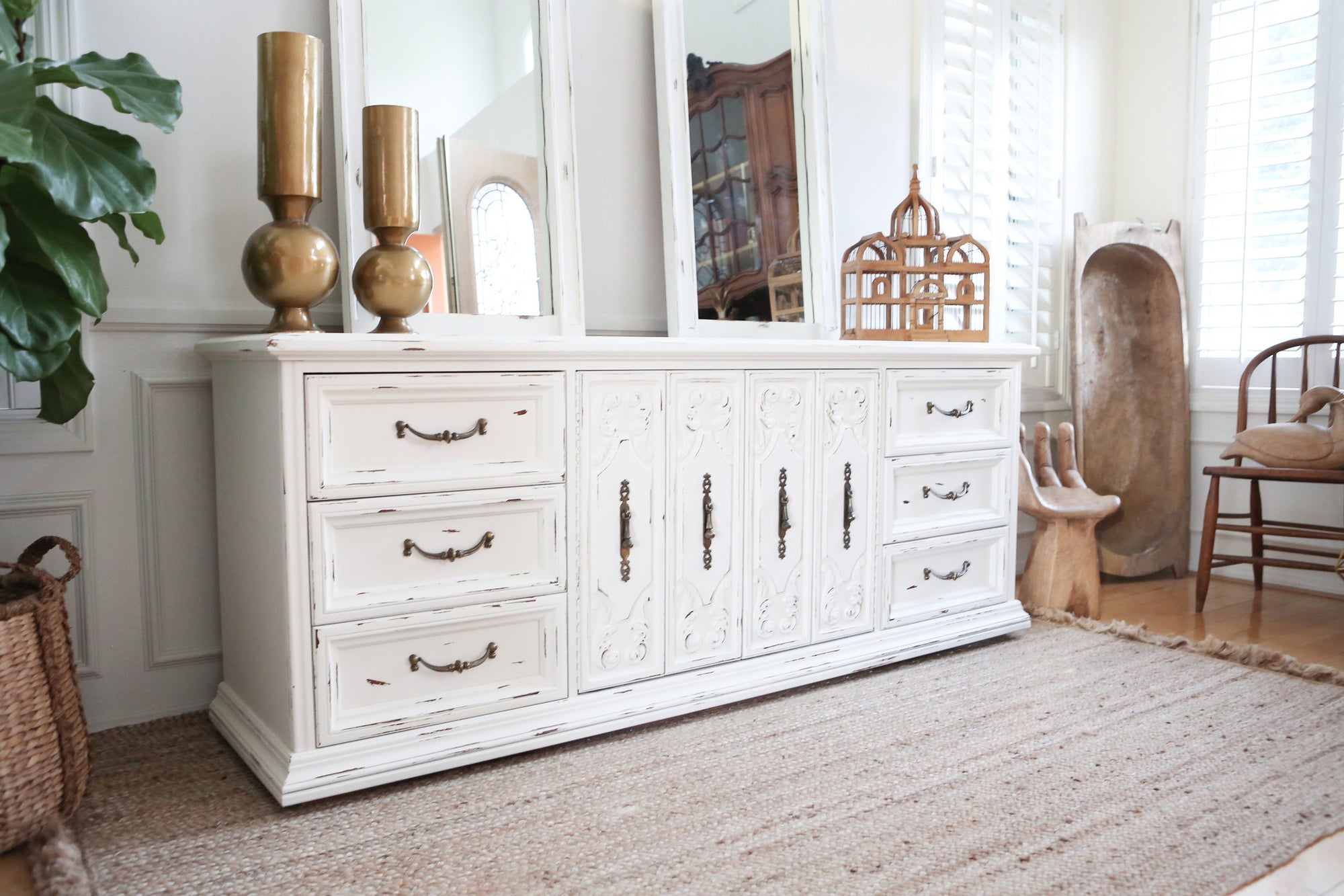 Shabby Chic Boho Chic Vintage Dresser Buffet Cabinet Credenza With Shopgoldenpineapple