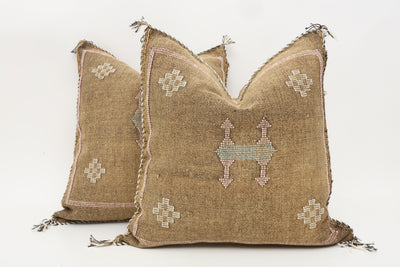 Moroccan Sabra Cactus Silk Pillow Cover - a Pair No P753p - ShopGoldenPineapple