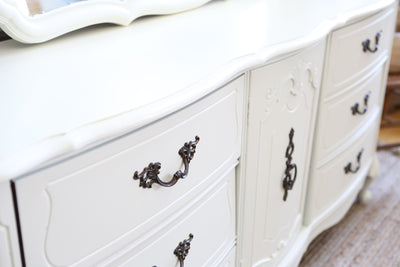 Bassett Shabby Chic French Provincial Vintage Dresser / Buffet Cabinet / Credenza with Mirror No187 - ShopGoldenPineapple