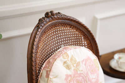 Vintage French Cane Chair with Cushion Set of TWO Shabby Chic No 384 - ShopGoldenPineapple
