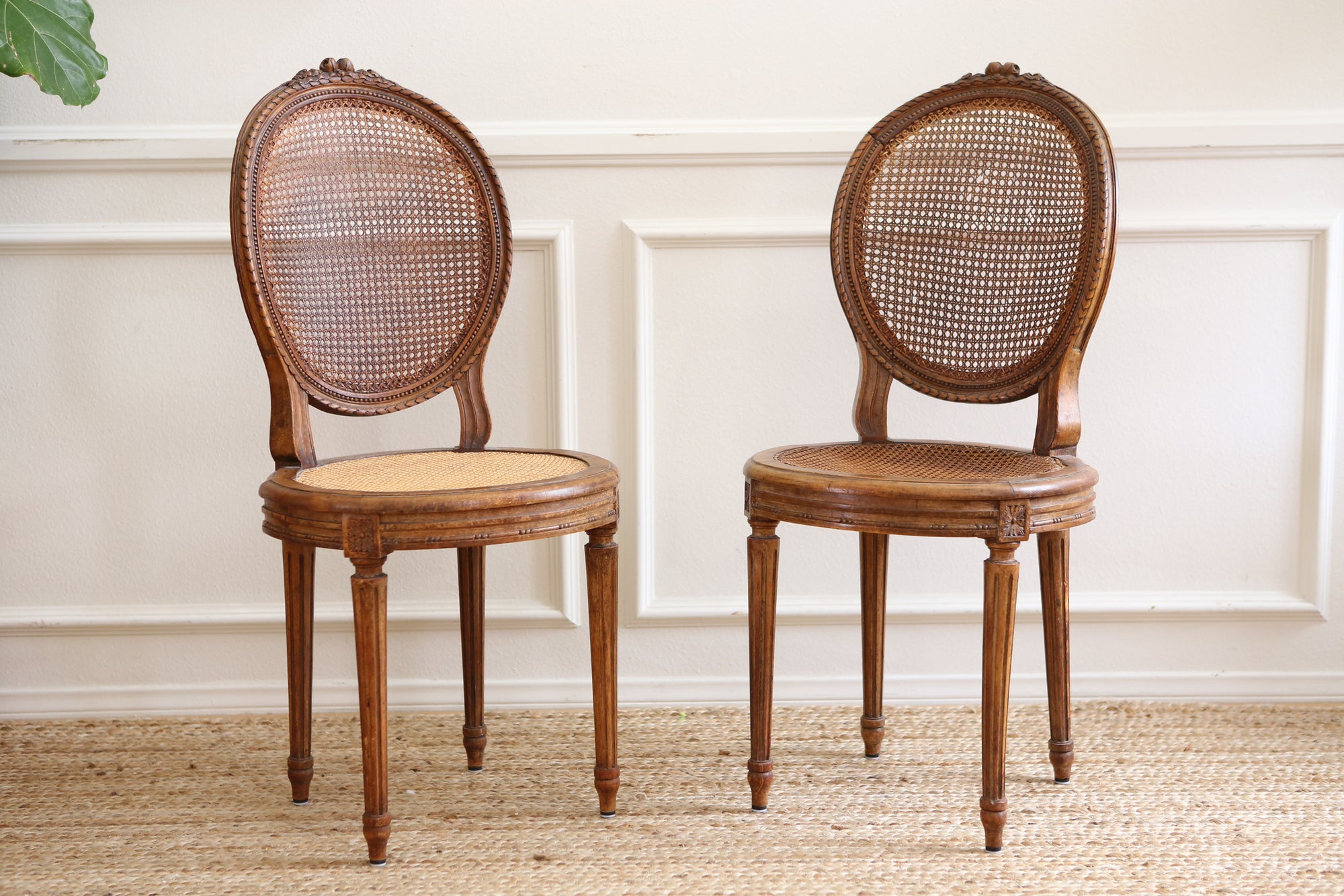 vintage french cane chair with cushion set of two shabby chic no 384
