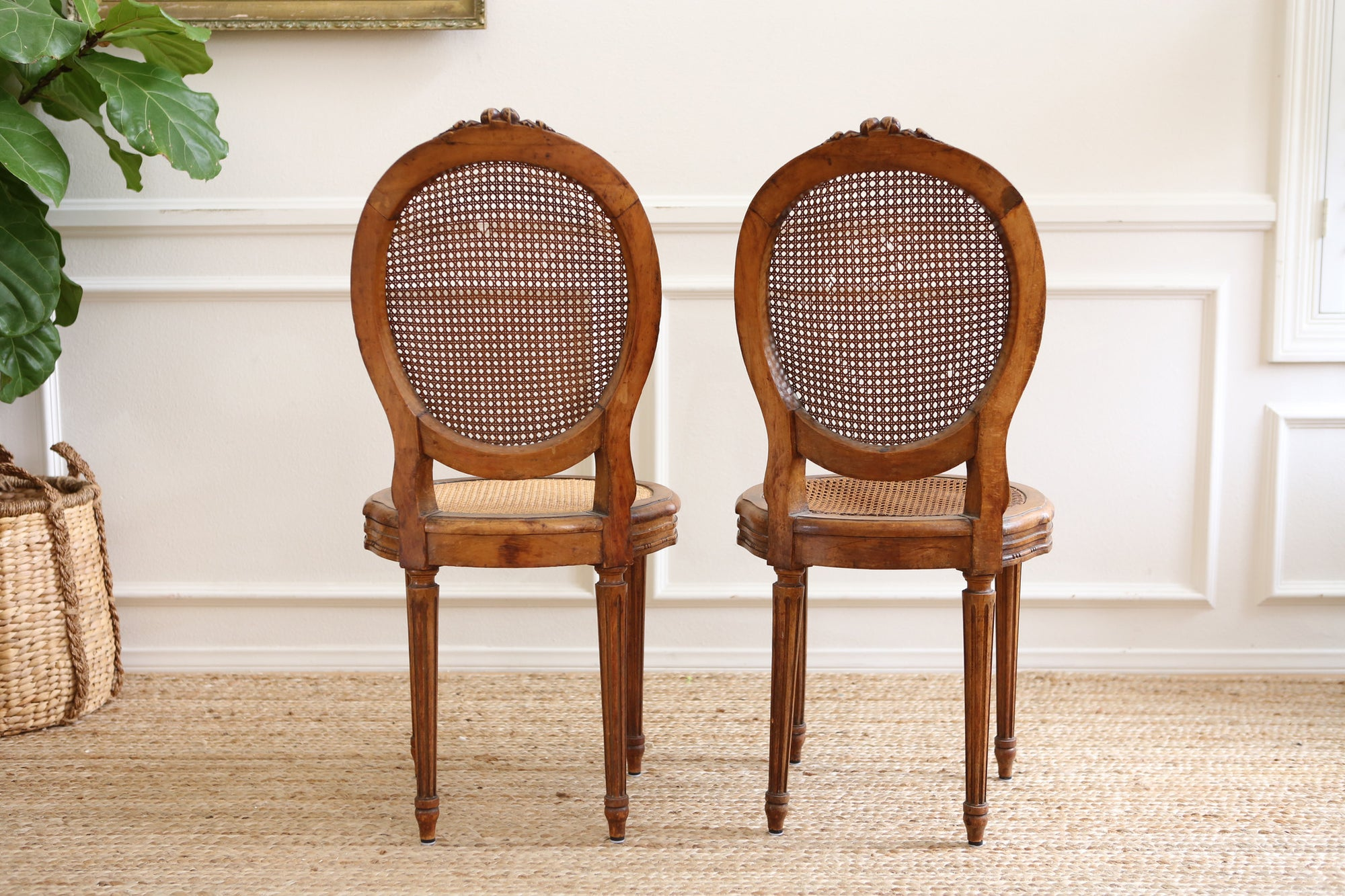 French Cane Chair with Cushion Set of TWO Shabby Chic No 384