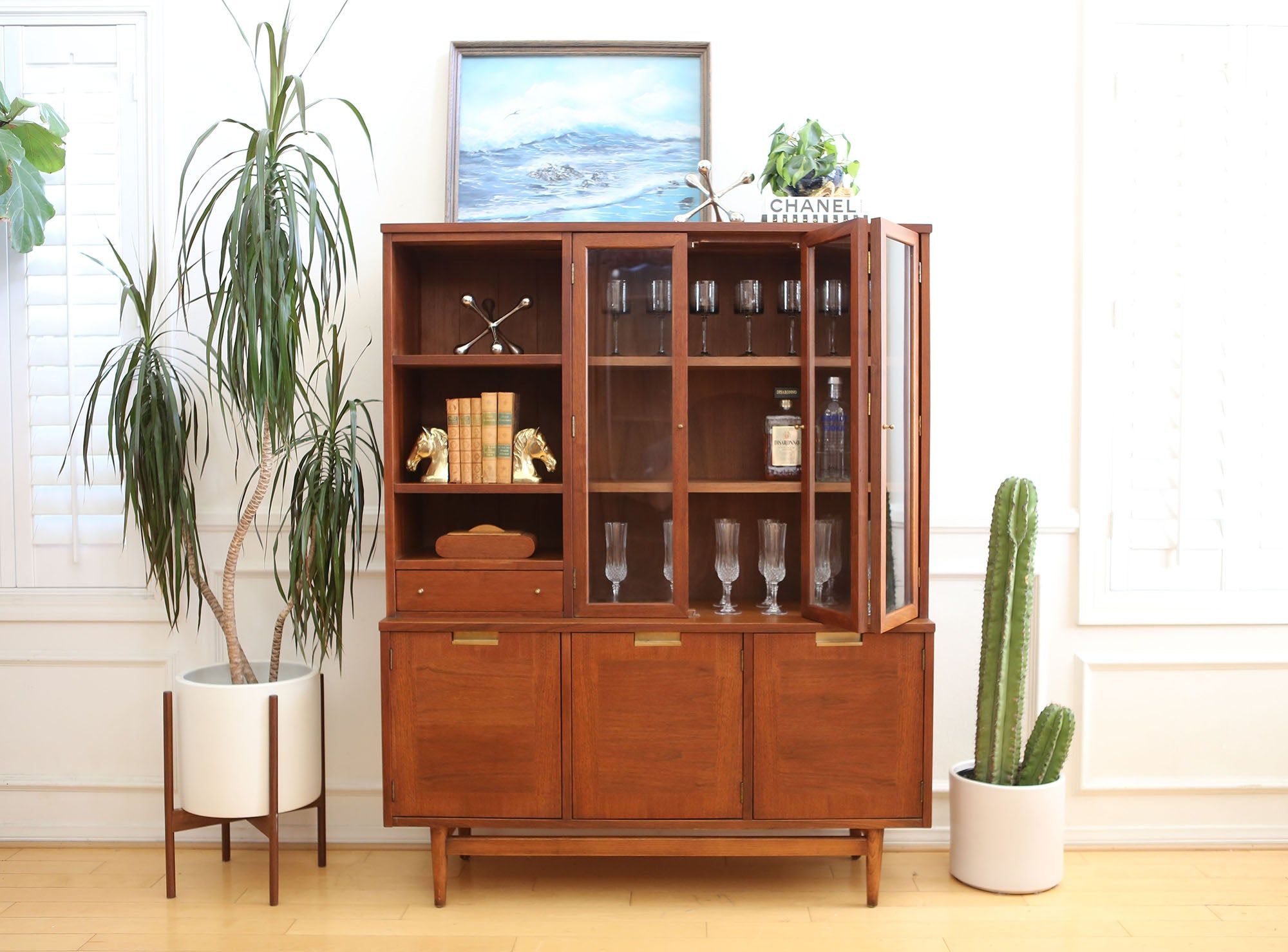 Vintage Mid Century Modern China Cabinet Hutch By American Of Martinsv Shopgoldenpineapple