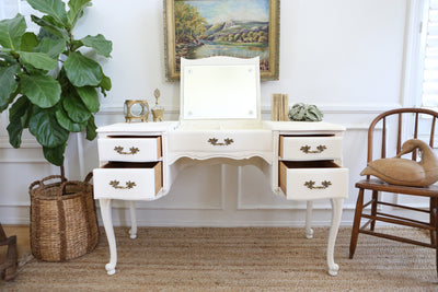 Vintage French Shabby Chic Vanity Desk / Console Table with Flip Up Mirror 195 - ShopGoldenPineapple