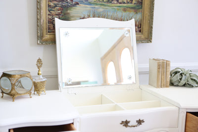 Vintage French Shabby Chic Vanity Desk / Console Table with Flip Up Mirror No195 - ShopGoldenPineapple
