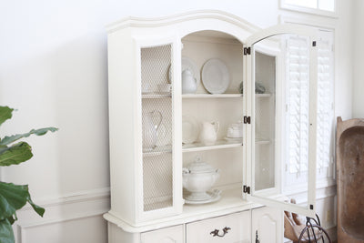 Shabby Chic Vintage Chine Cabinet Hutch in White No209 - ShopGoldenPineapple