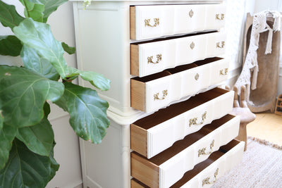 Shabby Chic French Provincial HighBoy Tall Dresser No222 - ShopGoldenPineapple