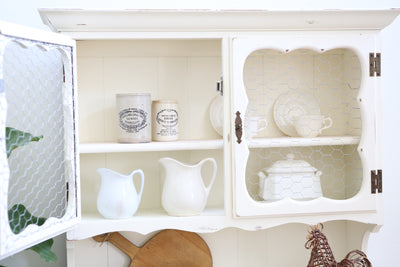 Vintage Shabby Chic Farm House Hutch / Cabinet / China Hutch No224 - ShopGoldenPineapple