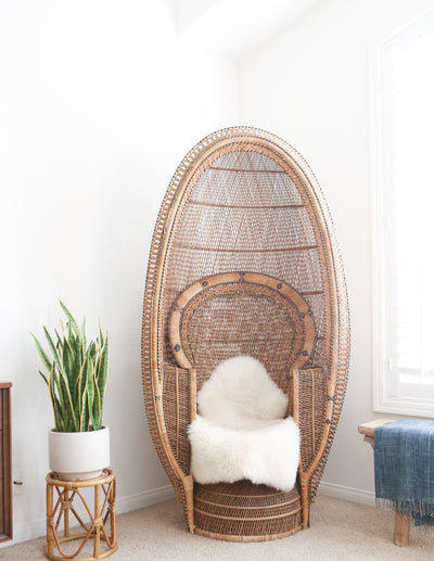 Vintage Rattan and Wicker Peacock Chair No 698 - ShopGoldenPineapple