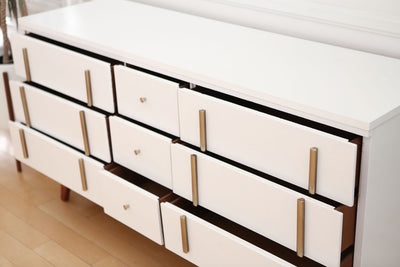 Mid Century Modern High Gloss White Vintage Dresser with wooden feet / Buffet Cabinet / Credenza No 651 - ShopGoldenPineapple