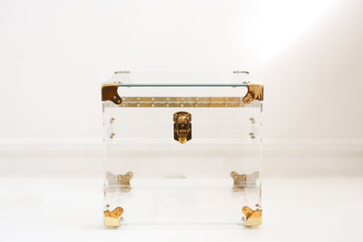 Hollywood Regency Vintage lucite & brass trunk side table with Glass Top No 378 - ShopGoldenPineapple