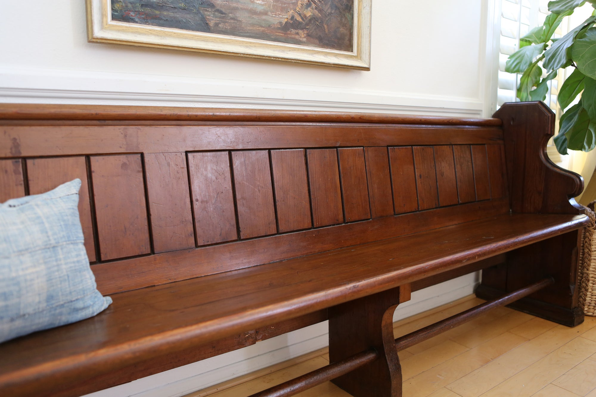 Cool Antique Church Pew Rustic Vintage Settee Solid Wood Bench No Caraccident5 Cool Chair Designs And Ideas Caraccident5Info