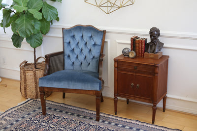 Mid Century Vintage Tufted Velvet Wingback Chair Navy blue by harris marcus furniture No 262 - ShopGoldenPineapple
