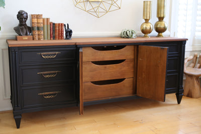 Vintage Mid Century Modern Black Dresser with Wooden Top by Fancher No 389 - ShopGoldenPineapple