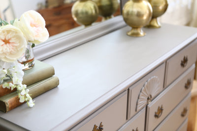 Vintage Shabby Chic Dresser / Credenza with Mirror in Gray No 395 - ShopGoldenPineapple