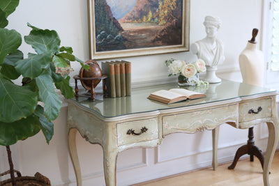 Shabby Chic Vintage Executive Desk / Writing Desk with removable glass Top No 396