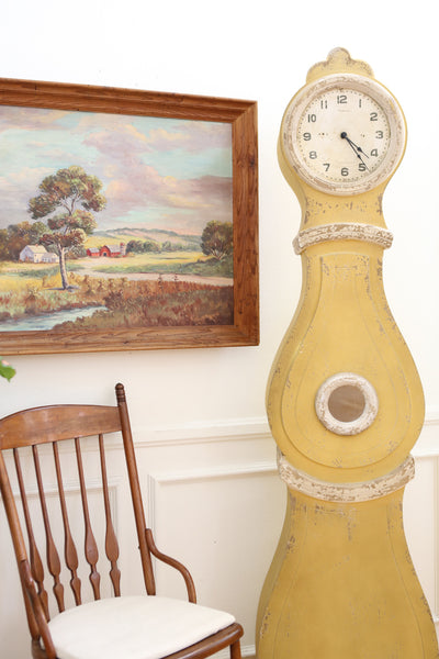 "SWEDISH MORA ANTIQUE VINTAGE REPRODUCTION YELLOW COTTAGE CHIC 75"" FLOOR CLOCK No 402 - ShopGoldenPineapple"