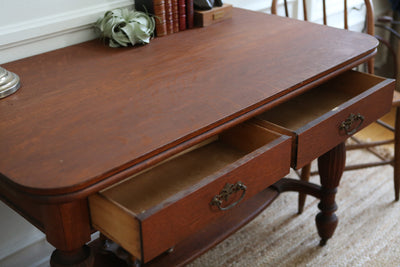 Antique Rare Beautiful Tiger Oak Study Desk / Writing Desk 251 - ShopGoldenPineapple
