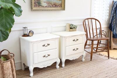 Vintage White NightStands / Side Tables / End Tables Set of Two No258 - ShopGoldenPineapple