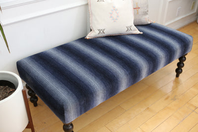 Blue Upholstered Bench No 665 - ShopGoldenPineapple