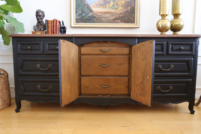 Brand Name: Century Vintage Modern Black Dresser with Wooden Top No 397 - ShopGoldenPineapple