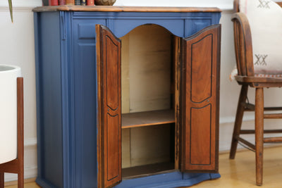 Vintage Wooden Top Blue Console Entryway table with cabinet No 663 - ShopGoldenPineapple