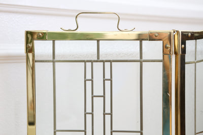 Vintage Hollywood Regency Brass Leaded Glass Folding Fireplace Screen No 664