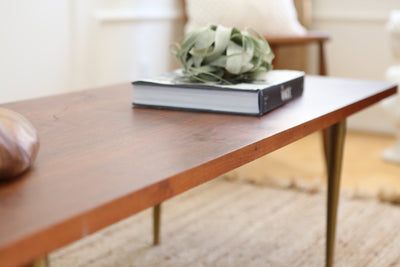 Mid Century Modern Coffee Table with Brass legs No 261 - ShopGoldenPineapple