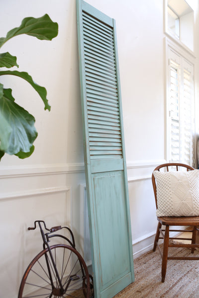 Shabby Chic Vintage Wood Shutter in Teal Color 264 - ShopGoldenPineapple