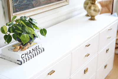 Mid Century Modern White Lacquer Vintage Drexel Lacquered campaign dresser No 513 - ShopGoldenPineapple