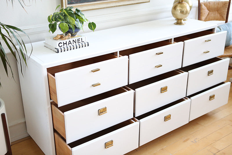 Mid Century Modern White Lacquer Vintage Drexel Lacquered campaign
