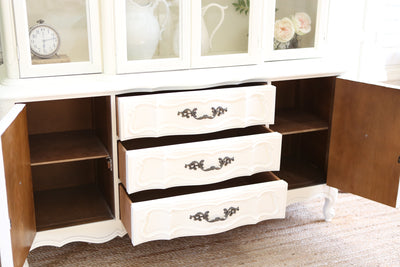 Shabby Chic Vintage Chine Cabinet Hutch in White No281 - ShopGoldenPineapple