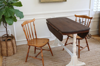 Shabby Chic Antique Solid Wood Dining Drop Leaf Table with 2 chairs No282 - ShopGoldenPineapple