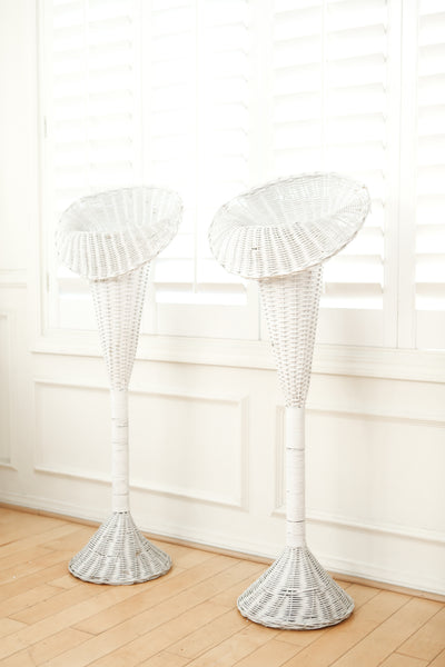 Vintage White Wicker Basket Tall Planter Stand / Flower Stand - A Pair No S590-1 - ShopGoldenPineapple