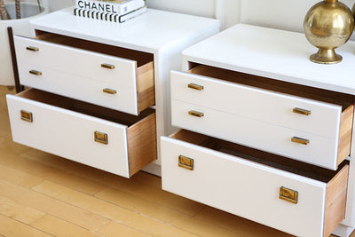 Mid Century Modern White Lacquer Vintage Drexel Lacquered campaign Nightstands Set of TWO  No 514 - ShopGoldenPineapple