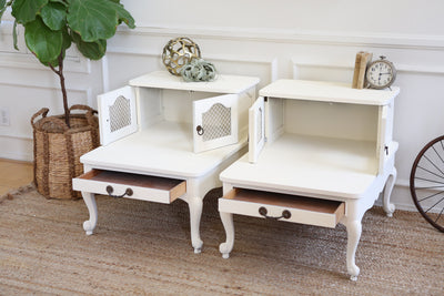 Shabby Chic Vintage White NightStands / Side Tables / End Tables Set of Two No283 - ShopGoldenPineapple