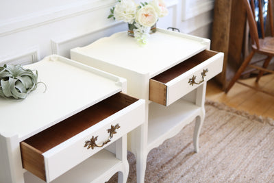 "Name Brand ""Henredon fine furniture"" : Shabby Chic French Provincial Vintage NightStands Set of Two No286 - ShopGoldenPineapple"